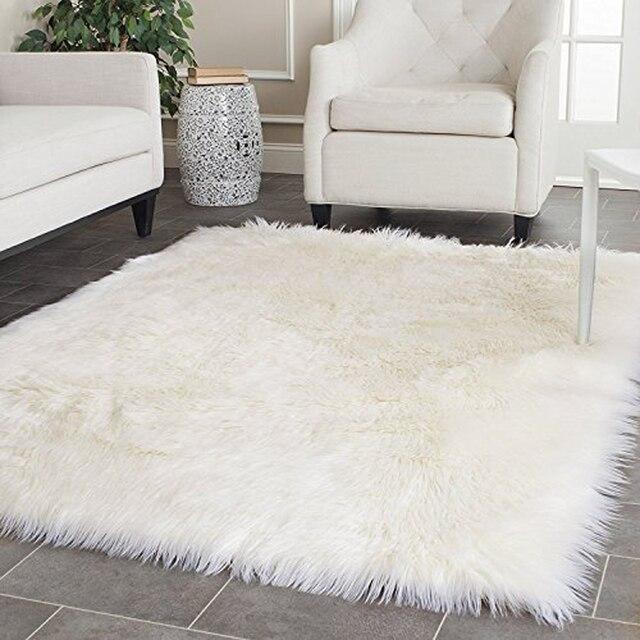 Blanc Faux en peau de Mouton couverture En Fausse Fourrure Tapis ...