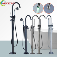 LED Floor Stand Faucets 360 Swivel Spout Bathroom Tub Faucet Mixer Tap Floor Mounted