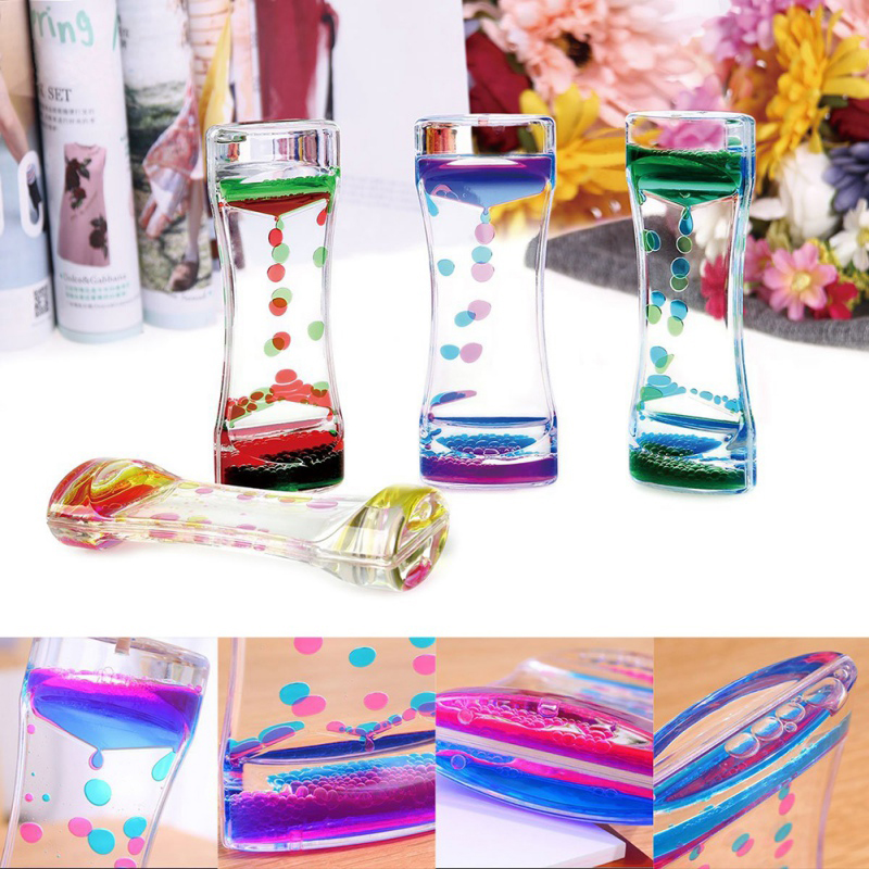 1PC Double Color Floating Liquid Oil Acrylic Hourglass Liquid Visual Movement Hourglass Timer Home Desk Table Decoration(China)