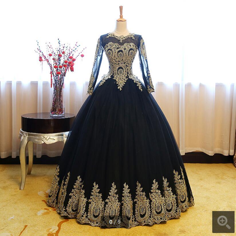 2017 nueva imagen real del vestido de bola modest prom dress de manga larga con