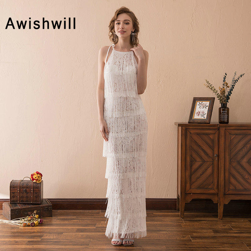 Sexy White Long   Prom     Dresses   2019 Floor Length Sleeveless Lace Tassel Formal Gowns Women Cheap Party   Dress   Vestido de Festa