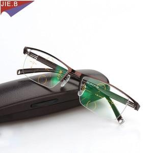 Image 3 - Titanium Alloy Smart Zoom Asymptotically Progressive Reading Glasses Half Rim Commercial Presbyopia Hyperopia Multifocal Glasses