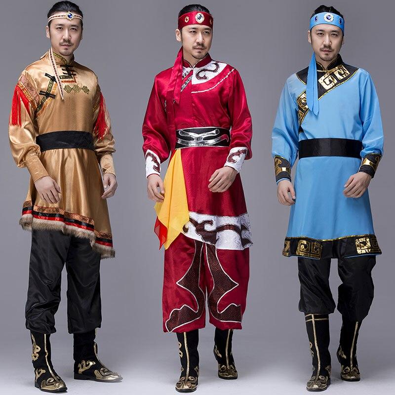 Le nouveau costume mongol adulte mâle mongol costumes danse moderne homme minorité théâtrale vêtements robes