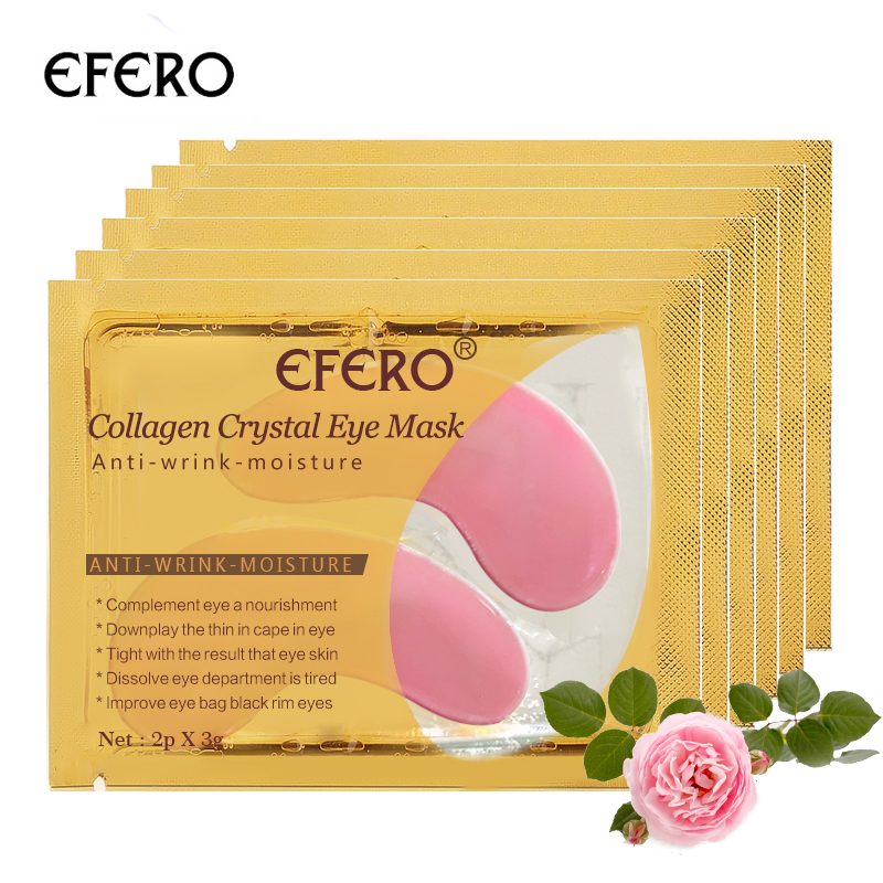 5pair=10pcs Crystal Collagen Eye Mask Gel Eye Patches Anti Wrinkle Remove Dark Circle Puffiness Pink Eye Pads Moisturizing Cream
