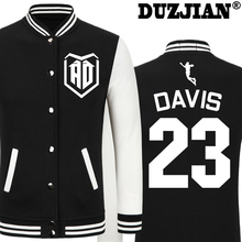 DUZJIAN Spring new Pelicans Anthony Davis informal jacket low cost males winter jackets male coat boys jacket hip hop youth jackets