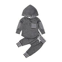 лучшая цена 2PCS Newborn Baby Girls Boys Warm Hooded Long Sleeve Sweatshirt Pants Outfits Clothes Sets 2019