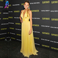 Blake Lively Yellow Celebrity Dresses Inspired Red Carpet Dress V-Neck Chiffon Backless Formal Gown Women Dress