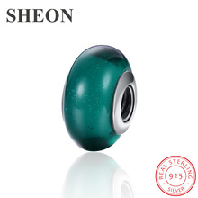 SHEON Sparkling Multicolor Murano Glass Beads 925 Sterling Silver Charms Fit Pandora DIY Bracelet Women Jewelry