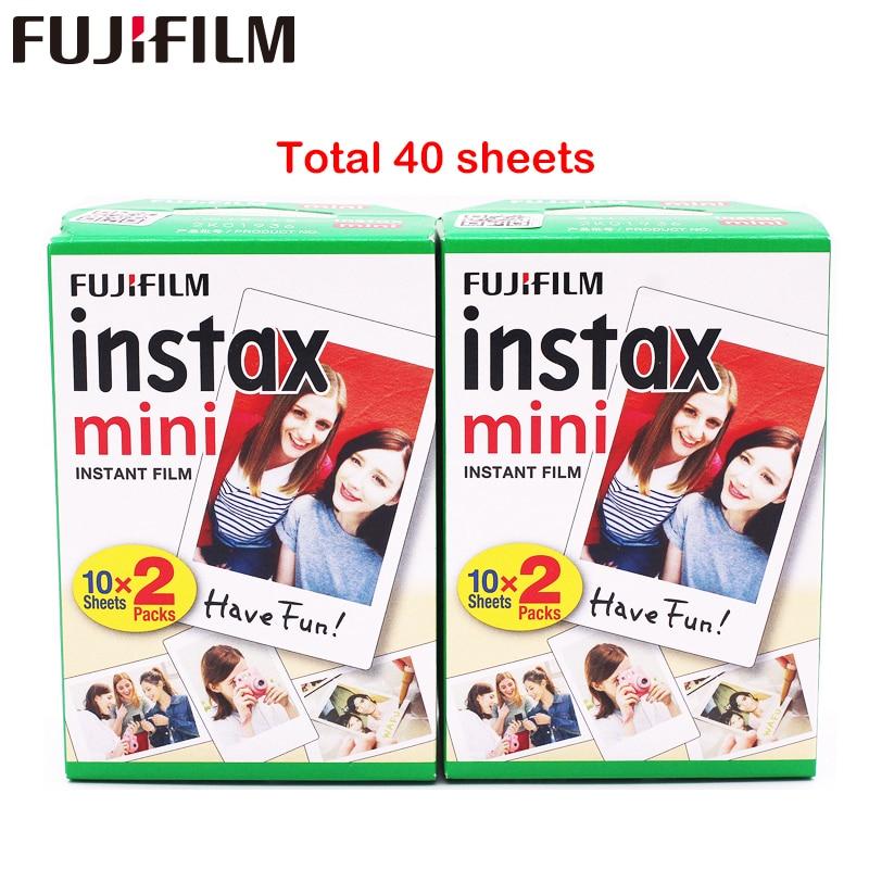 Fuji fujifilm instax mini 8 filme blanc 2 pacotes 40 folhas filme para 7s 8 9 90 25 55 compartilhar SP-1 câmera instantânea