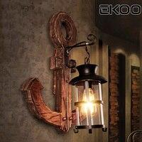 Экоо Винтаж промышленного ретро дерево E27 кафе бар настенный светильник стены Лофт свет