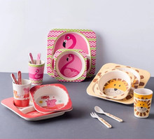 5pcs/set animal zoo baby Plate bow cup Forks Dinnerware feeding Set 100% bamboo fiber Baby children tableware set(China)