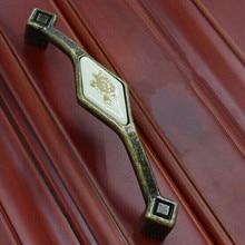 128mm Rustico pastorale ceramic furniture handle bronze kitchen cabinet wardrobe door pull 5″ antique brass dresser pull handle