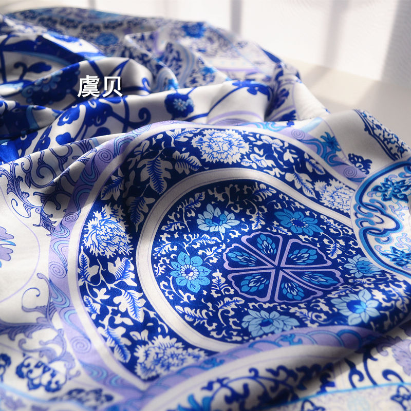 Blue and white porcelain 100 real natural silk scarf for woman shawls scarves silk scarf square