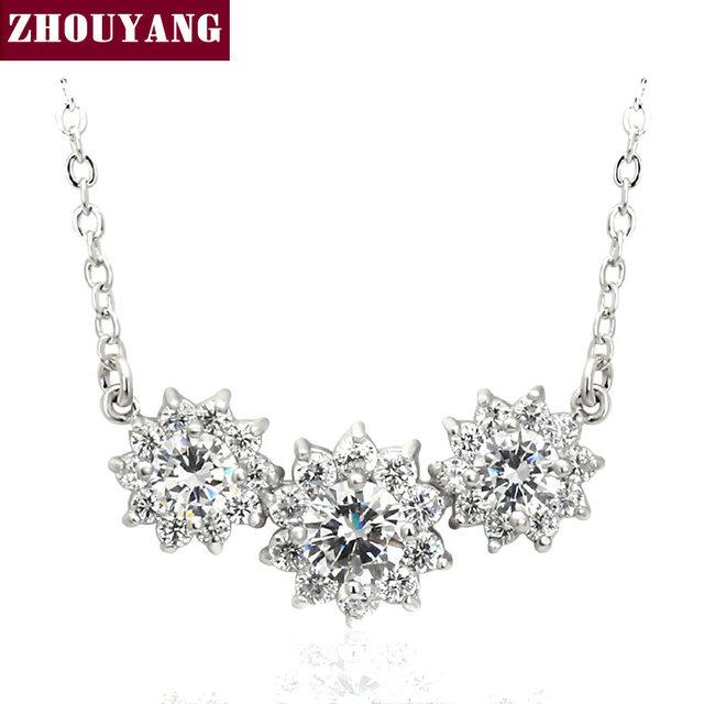 ZHOUYANG ZYN398 Sun Flower CZ Platino Plateado Joyería de Moda Colgante Collar Hecho con Cristal de Austria Wholesale