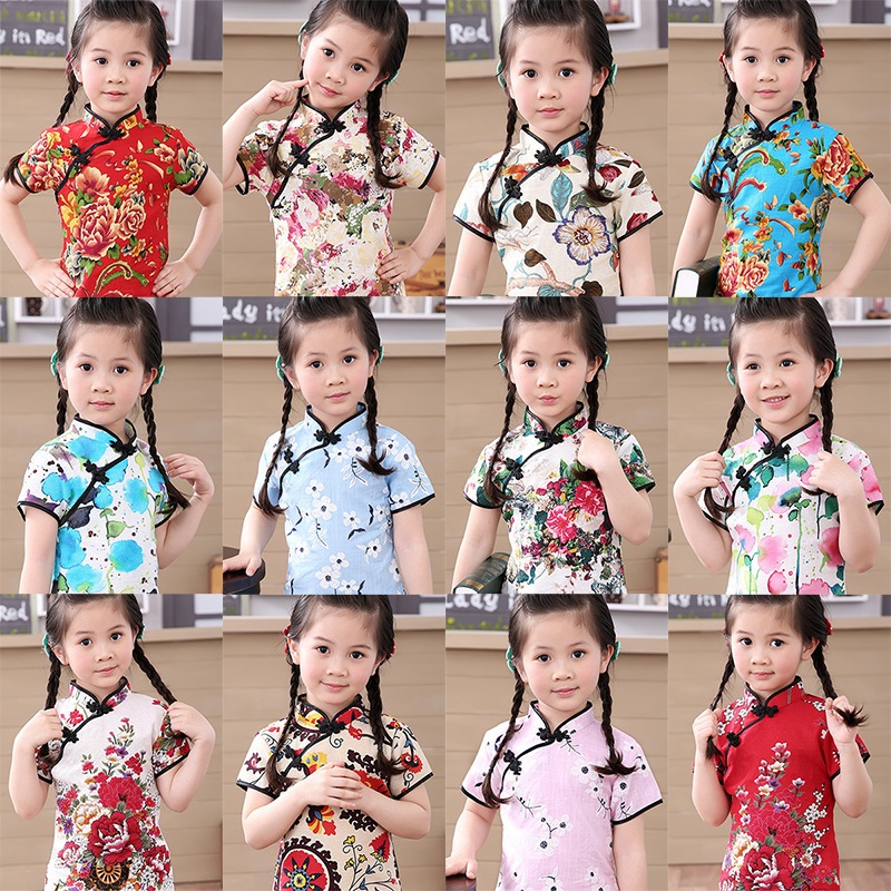 Cotton Girl Dress Floral Kids Baby Girls Qipao Short Sleeve Chinese Cheongsam Spring Autumn Girls Clothes Hot 2019 New
