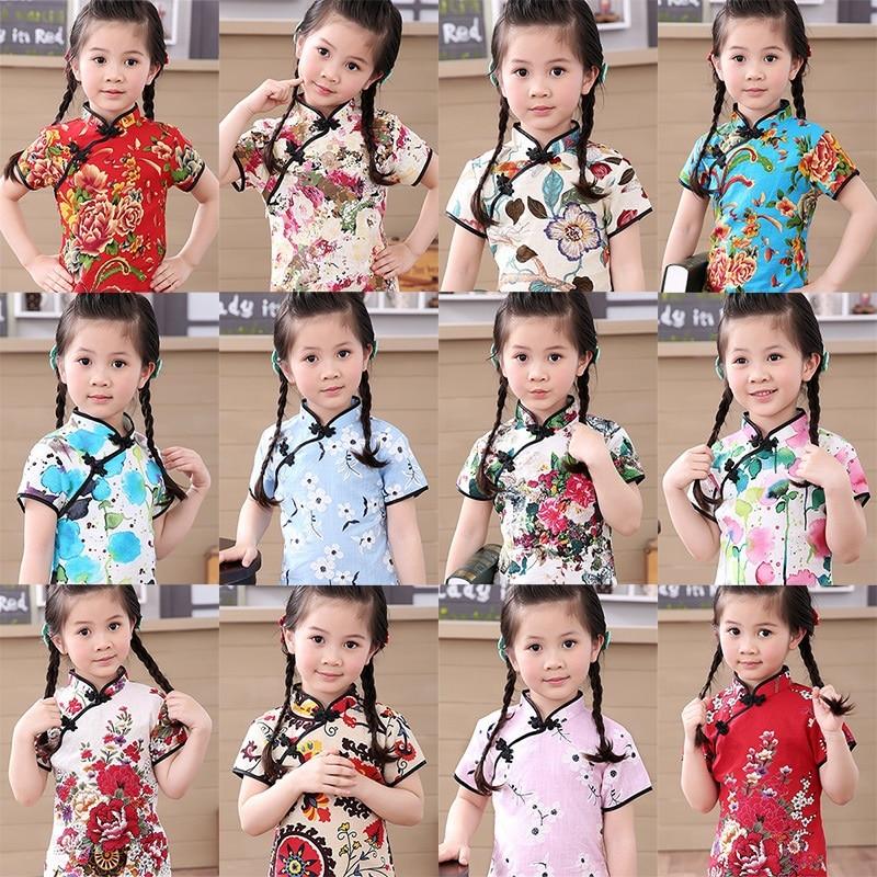 Cotton Girl Dress Floral Kids Baby Girls Qipao Short Sleeve Chinese Cheongsam Spring Autumn Girls Clothes Hot 2019 New