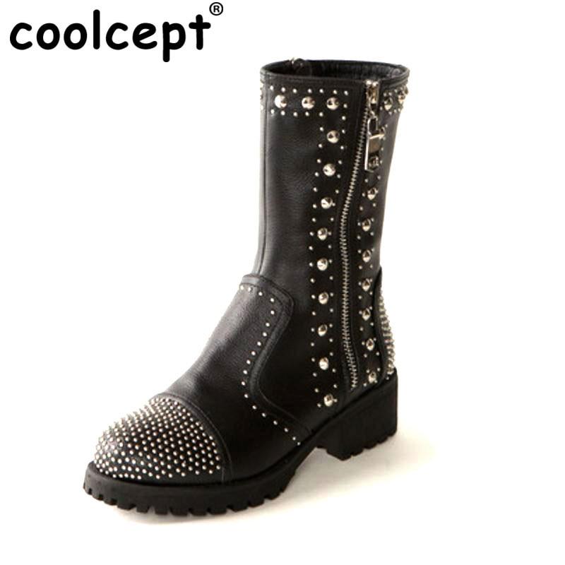 цены на Coolcept Size 34-39 Ladies  Real Leather Motorcycle Boots Women Rivets Side Zip Shoes Women Sexy Mid Calf Winter Botas Footwear в интернет-магазинах
