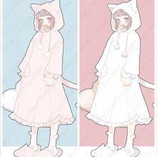 Очень милое мягкое флисовое платье для сна в стиле Лолиты с кошачьими ушками и хвостом для девочек Милая ночная рубашка розового и белого цвета