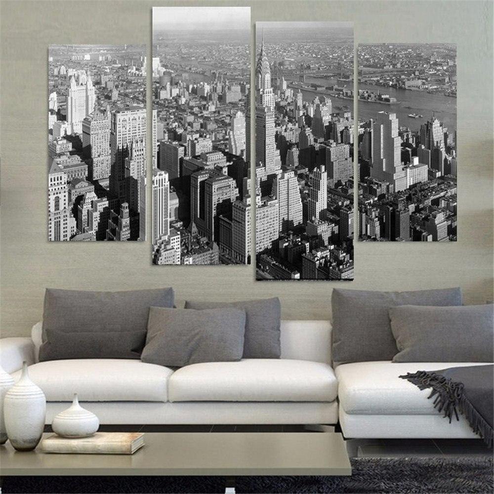 banmu unidades de pared pintura blanco y negro de nueva york ciudad pintura decoracin las