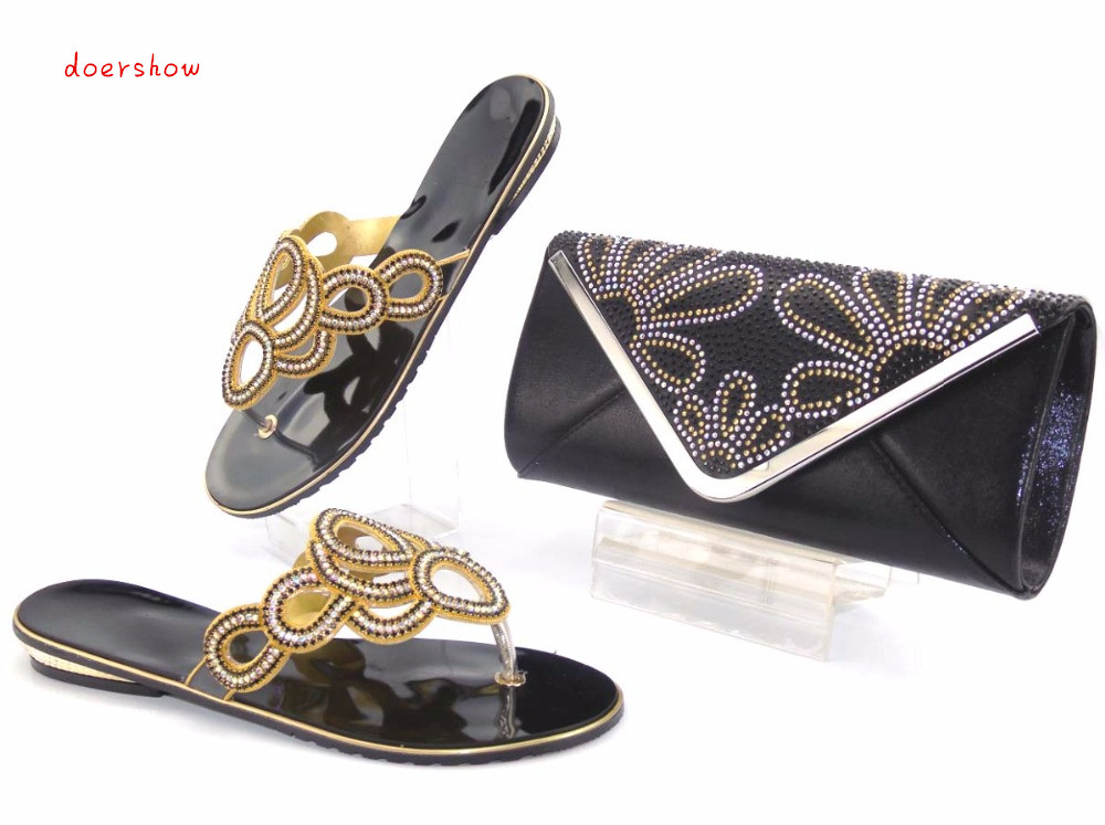 doershow Italian Matching Shoes and Bag Set African Wedding Shoe and Bag Sets Matching Shoes and Bags for Wedding AS1-2 african wedding shoes and bag sets women pumps decorated with diamonds italian matching shoe and bag mm1014