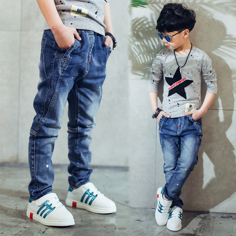 2019 childrens clothing boys jeans spring and autumn splash-ink  children pants2019 childrens clothing boys jeans spring and autumn splash-ink  children pants