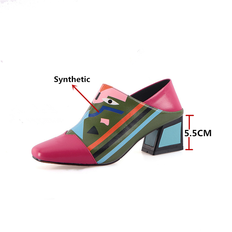 FEDONAS 19 Fashion Prints Women Synthetic Leather High Heels Party Wedding Shoes Woman Square Toe Spring Summer Basic Pumps 2