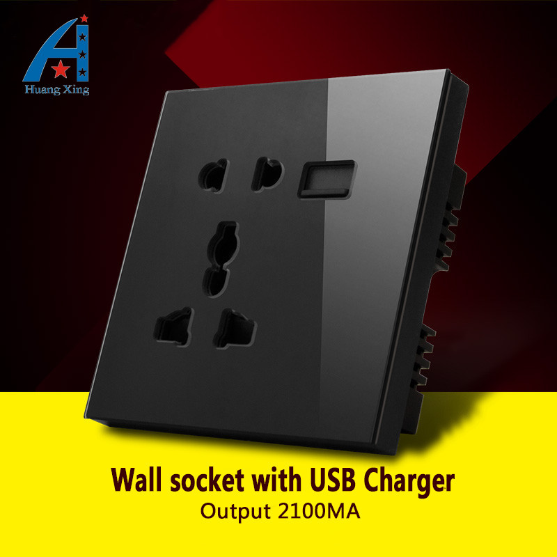 все цены на HUANGXING, 13A 5 Pin Universal wall socket With 2100M USB plug power electrical outlet, Black/White Crystal tempered glass panel онлайн