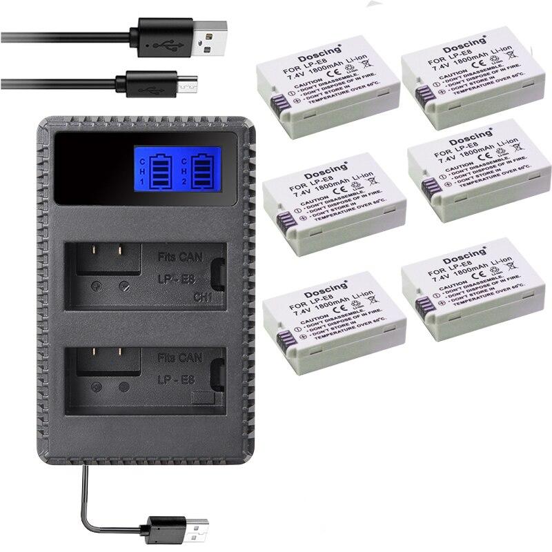 6 pièces 1500 mAh LP-E8 LPE8 LP E8 Batterie de caméra Batterie Batterie AKKU + LCD USB double chargeur pour Canon EOS 550D 600D 650D 700D