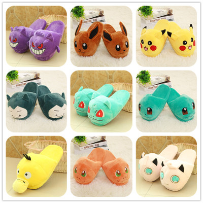 Anime Pokemon Slippers Pikachu Eevee Umbreon Go Plush Shoes Home House Winter Slippers Cosplay Shoes