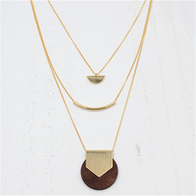 2017 free shipping fashion women New Jewelry wholesale Geometric natural wood level necklace female long section