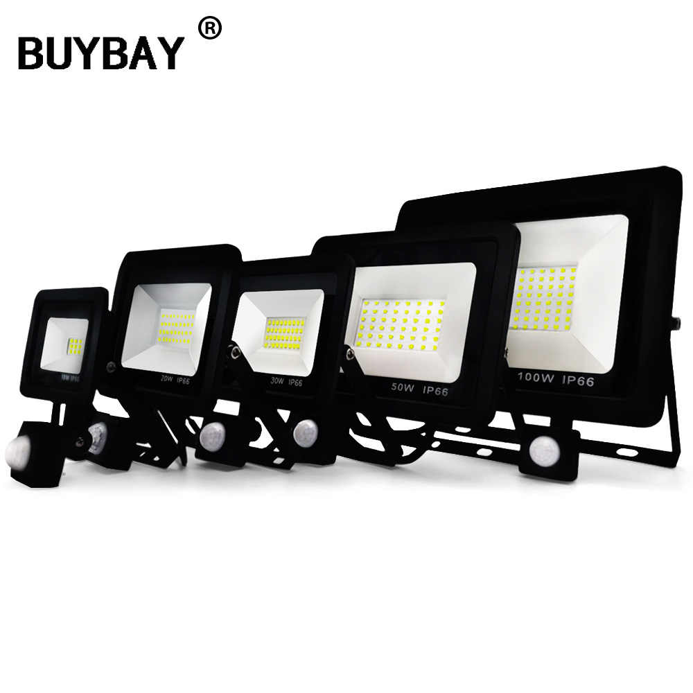 BUYBAY LED Flood Light with Motion Sensor 10W 20W 30W 50W Floodlights Street Lamp 220V IP66 Reflector Led Outdoor PIR Spot Light