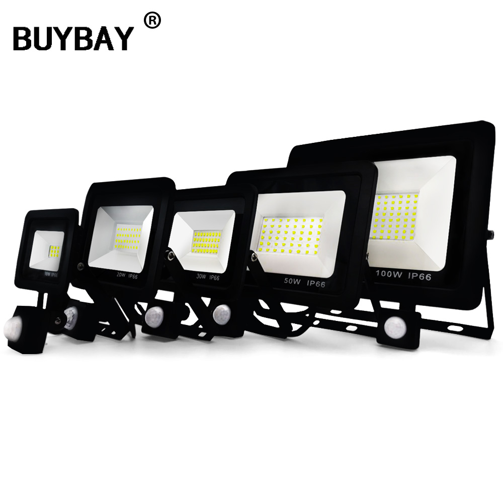 BUYBAY LED Flood Light with Motion Sensor 10W 20W 30W 50W Floodlights Street Lamp 220V IP66 Reflector Led Outdoor PIR Spot LightBUYBAY LED Flood Light with Motion Sensor 10W 20W 30W 50W Floodlights Street Lamp 220V IP66 Reflector Led Outdoor PIR Spot Light