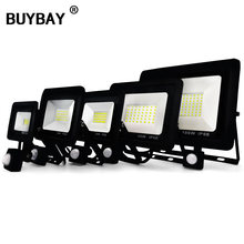 BUYBAY LED Flood Light with Motion Sensor 10W 20W 30W 50W Floodlights Street Lamp 220V IP66 Reflector Led Outdoor PIR Spot Light(China)