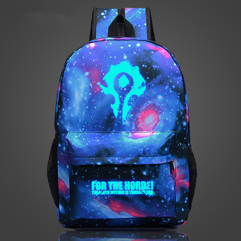 Wow For The Horde World Of Warcraft Backpack School Bags Luminous Backpacks Tribe Alliance Nylon Mochila Galaxia