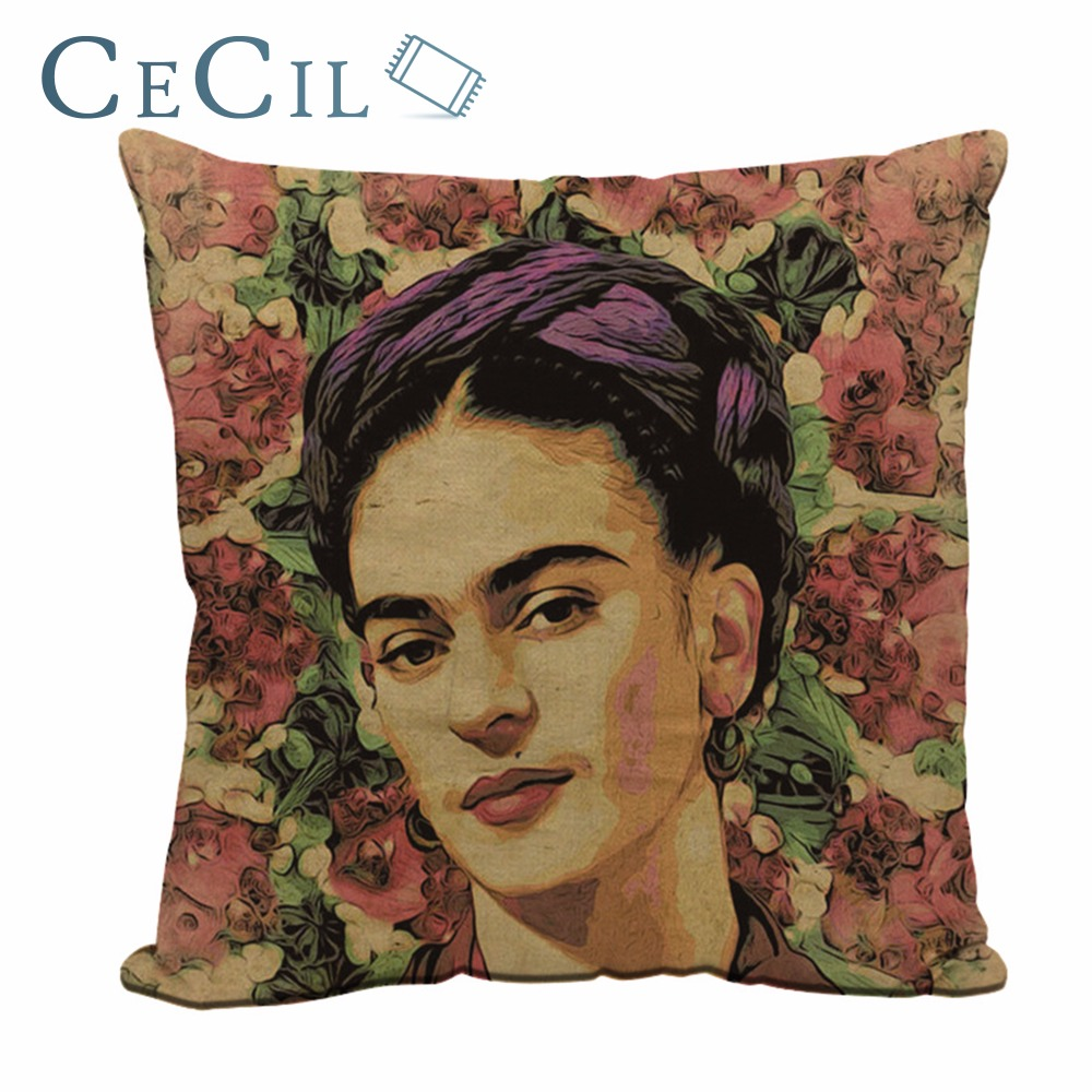 Mexico Painter Self-portrait Frida Kahlo Charm Pillow Case Cotton Linen Cushion Cover Sofa Throw Pillowcase Bedroom Home Decor