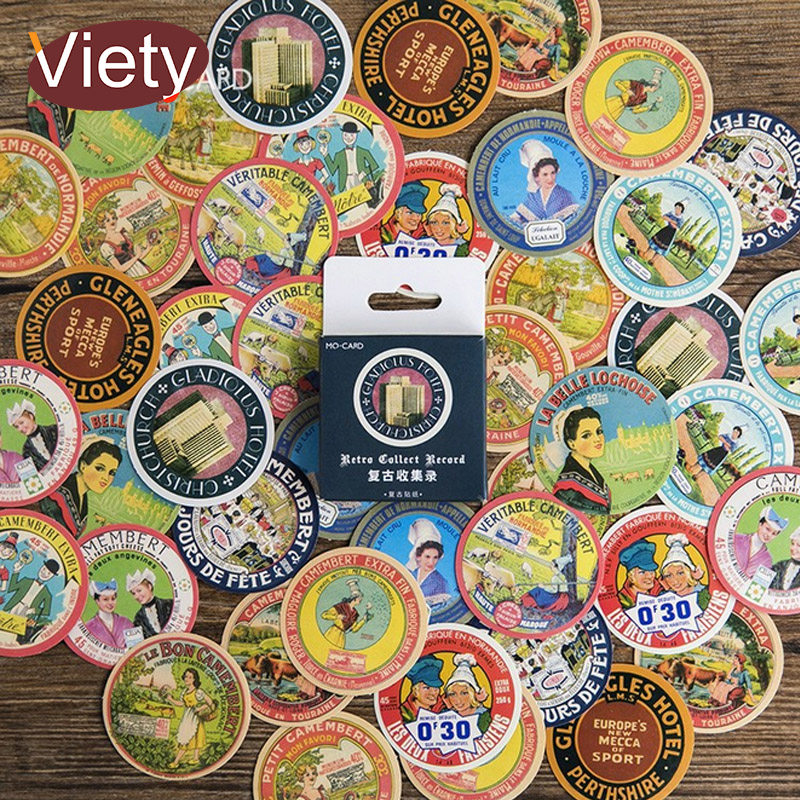 45 Pcs/ Box Vintage Advertising Placard Mini Paper Sticker Decoration DIY Diary Scrapbooking Seal Sticker Kawaii Stationery