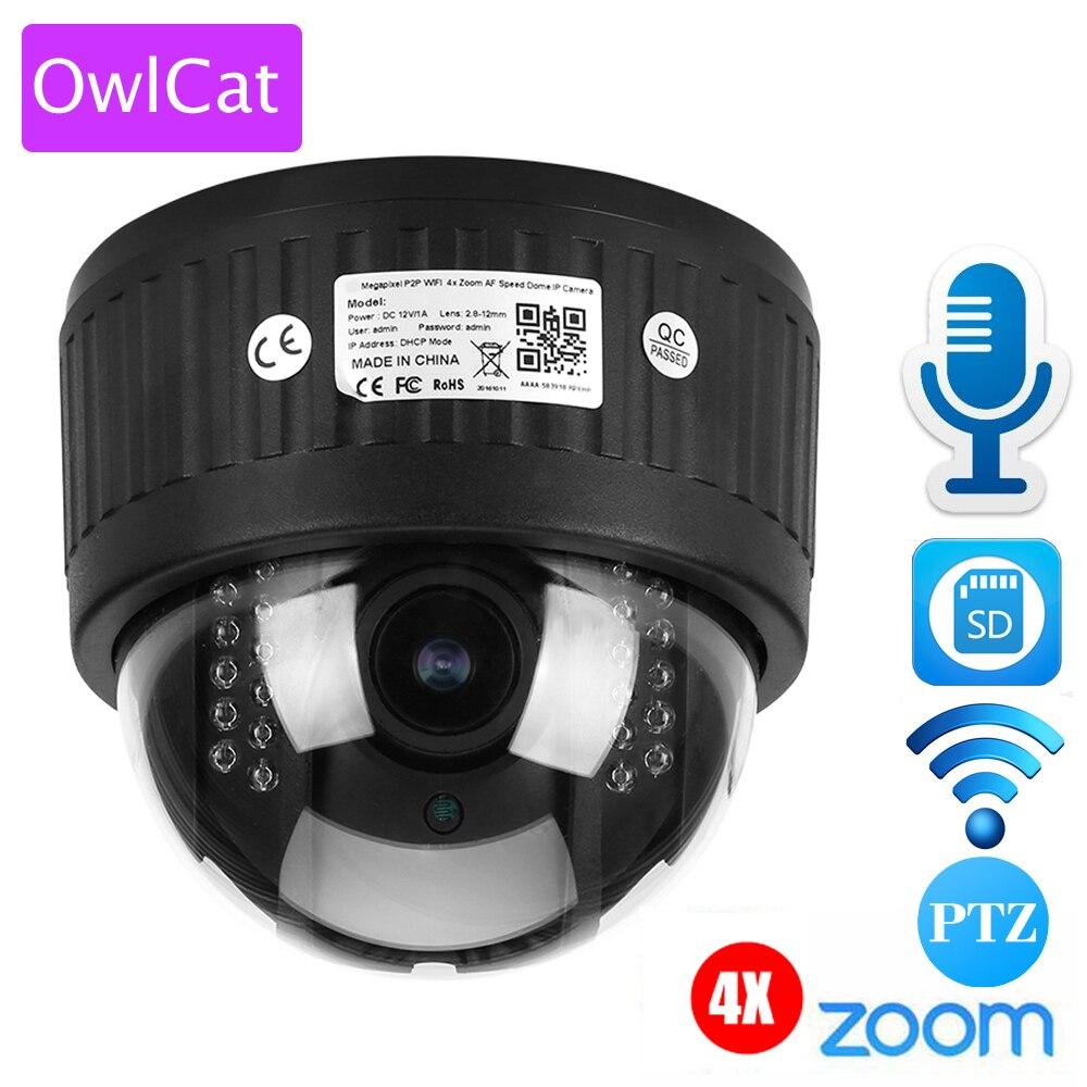 bilder für OWLCAT 4X Zoom 2,8-12mm Indoor Wireless Dreh Dome PTZ Ip-kamera Wifi HD 1080 P Audio Mikrofon Sd-karte IR Night Onvif P2P