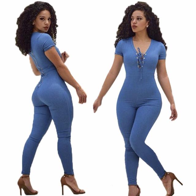 Venda quente 2017 Mulheres Primavera Fino Sexy Profunda V Pescoço macacão Azul Lace Up Bandage Macacão Manga Curta Magro Treino Romper
