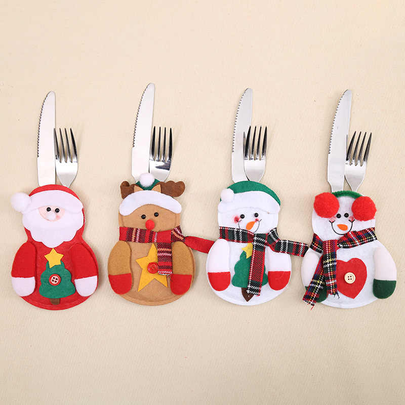 Christmas Decor Snowman Kitchen Tableware Holder Bag Party Gift Xmas Ornament Christmas Decorations for Home Table 2019 Navidad
