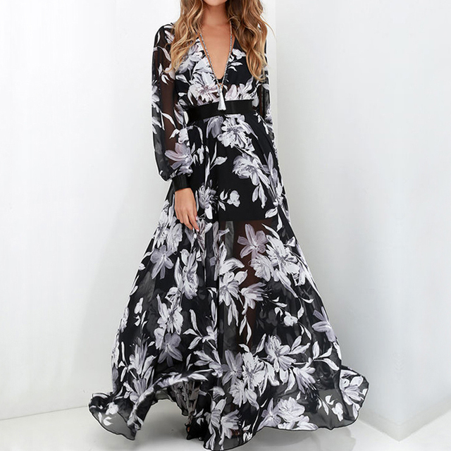 Boho Chiffon Floral Maxi Dress
