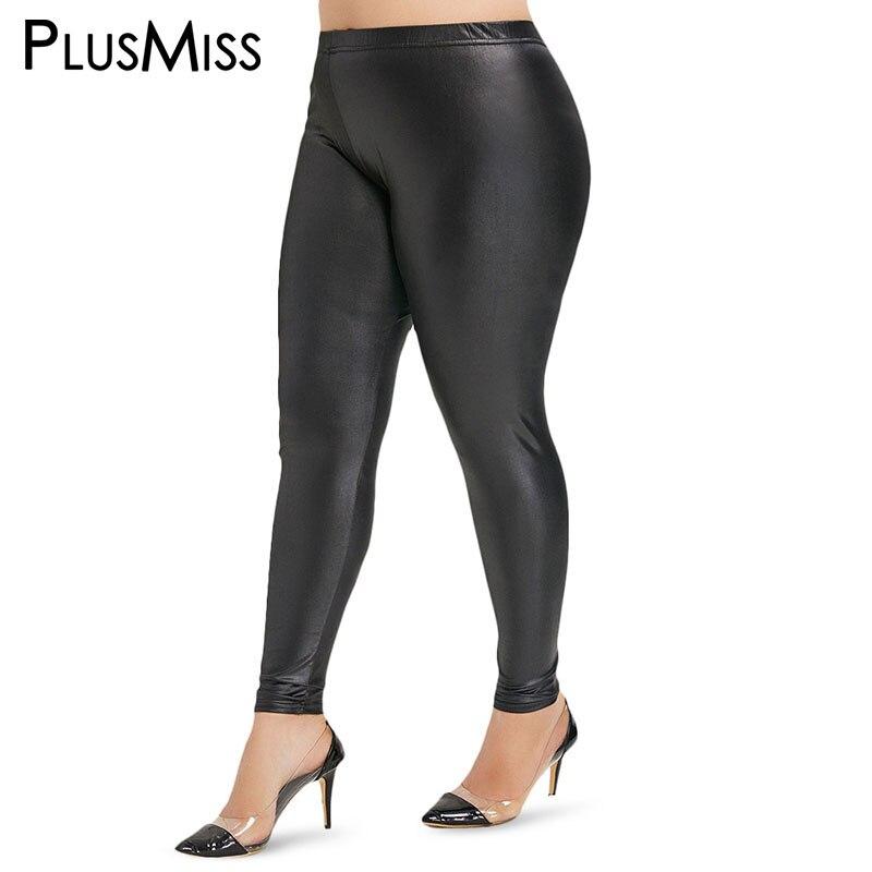 PlusMiss Plus Size 5XL Sexy Elastic Faux PU Leather Skinny   Leggings   Women Black Fitness Jeggings High Waist Legins Big Size XXXL