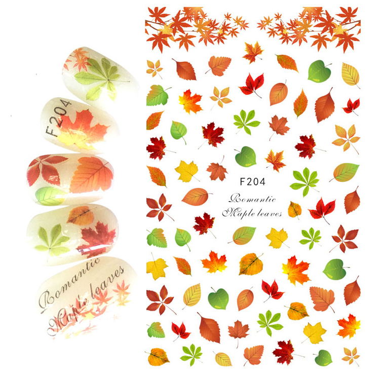 1pcs 3D Super Thin Nail Stickers Tips Nail Art Adhesive Decals Manicure Decoration Autumn Maple Leaves Nail Wraps F204 138designs hot nail art stickers 100sheet adhesive nail tips polish decals wrap patch finger nail manicure decoration tools