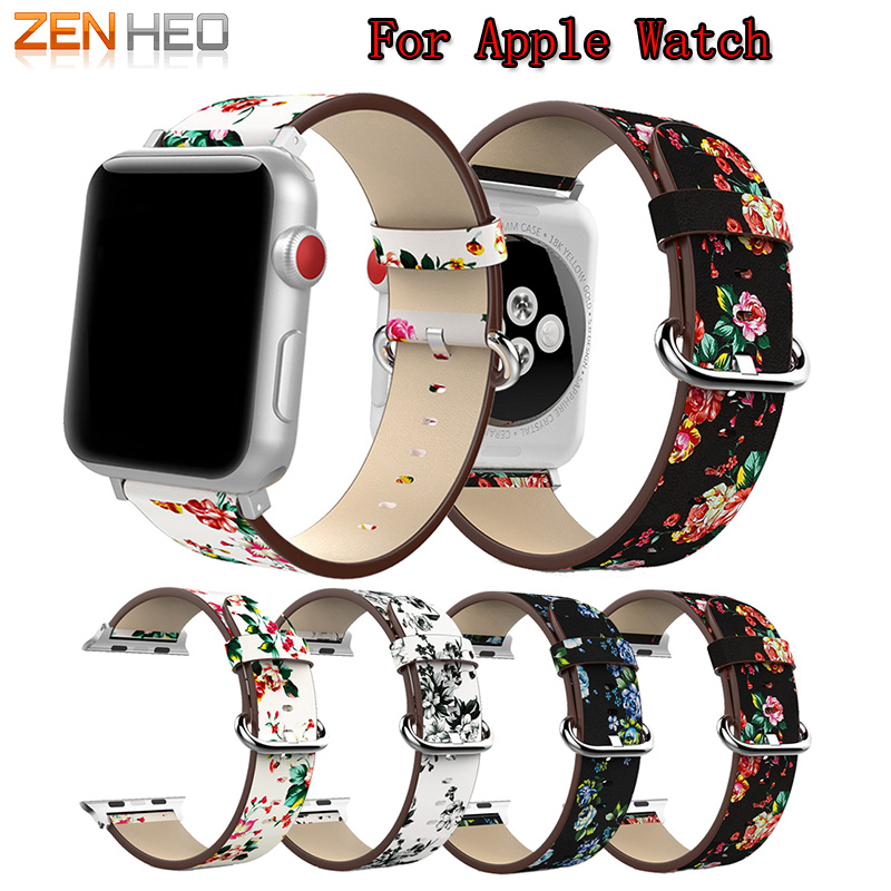 Watch Band Leather peony Print For Apple Watch 38mm 42mm Series 1/2/3 Replacement Watch Accessories Wristbands Straps Bracelet