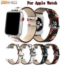 Кожаный ремешок для часов с принтом пиона apple watch 38 мм