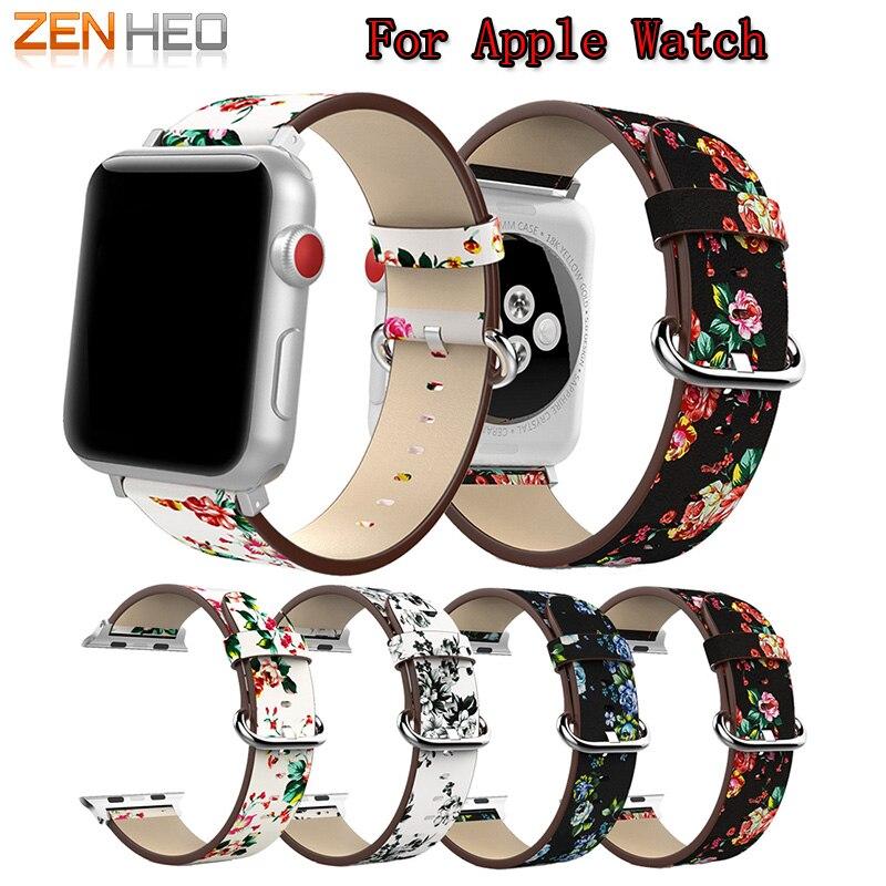 Uhrenarmband-Lederpäonie-Druck für Apple-Uhr 38mm 42mm Reihe 1/2/3 - Intelligente Elektronik