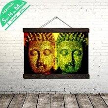 Лучший!  Красный И Зеленый Будда Свиток Живопись Холст Старинные Плакат и Отпечатки Wall Art Картина Гостиная