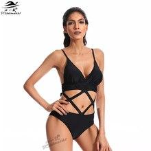 цена на 2017 Hot Top Quality Sexy Swimwear Women One Pieces Swimwear Deep-V Hollow Bandage Bathing Suit Sexy Black Pool Party Swimsuit