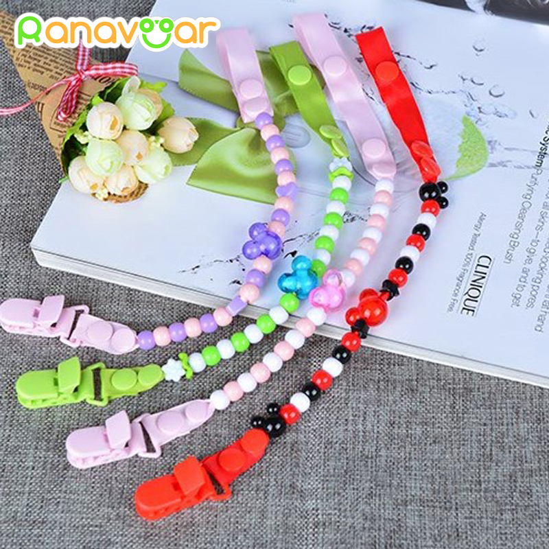 Baby Pacifier Clip Kedja Attache Clip Dummy Pacifiers Leash Strap Pärlor Toy Teether Hållare Baby Soother Chain 35200