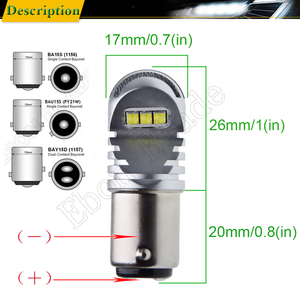 Image 3 - 2X1156 BA15S P21W 1157 BAY15D P21/5W BAU15S PY21W voiture lumière LED Canbus sans erreur Auto LED ampoule lampe blanc rouge ambre 12v 24v D