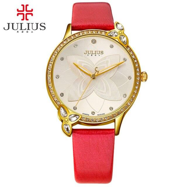 ad31ed441aa Julius Relógios Logotipo Mulheres Relógio Presente da Criança para a Menina  Flores Baratos Natal relógios de